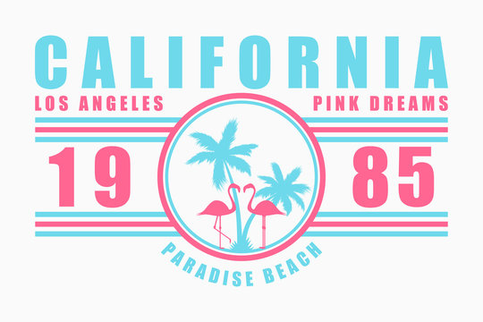California typography for t-shirt with slogan. Los Angeles fashion graphics with palm tree and flamingo for design clothes. Vector illustration.