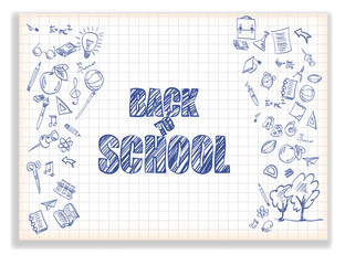 Back to school. White background with drawings on the theme of education.
