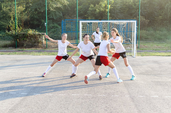 Female handball team playing a match