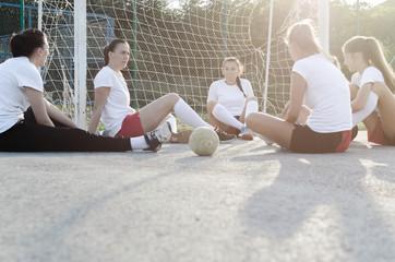 Young female handball players