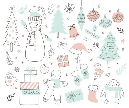 Christmas and holidays set of vector illustrations in doodle scandinavian style. Winter illustrations.
