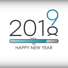 Happy New Year 2019 greeting card with loading bar. Vector illustration.