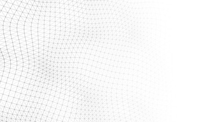 Wave white background. Abstract white futuristic background. Wave with connecting dots and lines on...