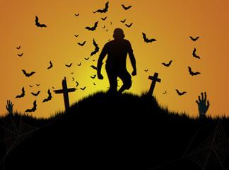 Halloween cemetery background.