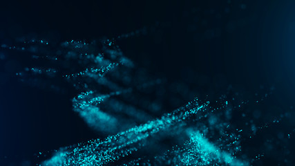Big data visualization. Digital background. Analytics representation. Wave of particles. 4k rendering.