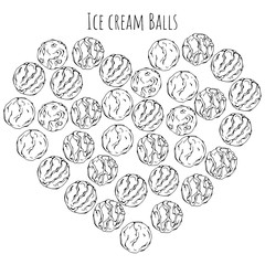 Group of vector illustrations on the sweets theme; set of different kinds of ice cream ballls.  Pictures are depicted as dark sketches on a white background grouped in the heart.