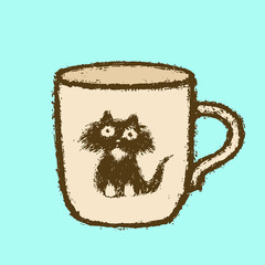 Large cup with cat head sticker. Vector illustration.
