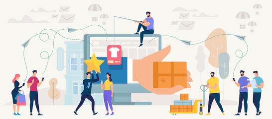 Online Shopping and Networking. Vector.