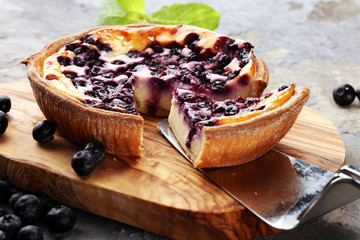 Printed kitchen splashbacks Dessert Blueberry pie or homemade cheesecake with blueberries. Delicous dessert blueberry tart