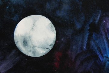 Full moon in night sky design background in watercolor
