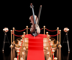 Podium with violin and bow, 3D rendering