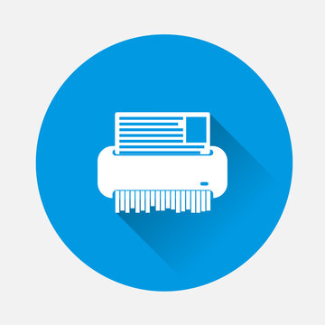 Vector shredder image. Technics for office on blue background. Flat image shredder with long shadow. Layers grouped for easy editing illustration. For your design.