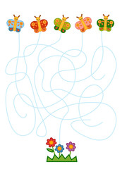 Maze game for children, Butterflies and flowers