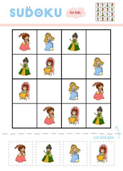 Sudoku for children, education game. Set of cartoon Princesses.
