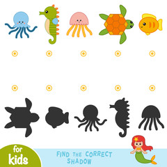 Find the correct shadow, education game. Cartoon set of sea animals