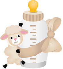 Cute sheep with baby milk bottle with baby milk bottle