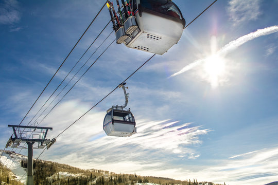 View of moving gondola in the winter in Stemboat Springs, Colorado, USA
