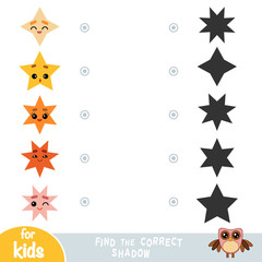 Find the correct shadow, education game for children. Geometric shapes