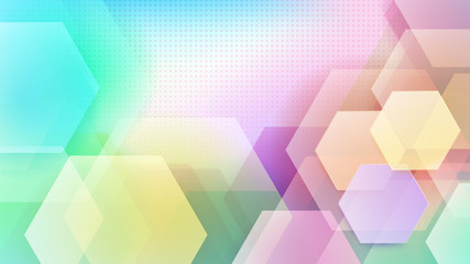 Abstract background of hexagons and halftone dots in various colors
