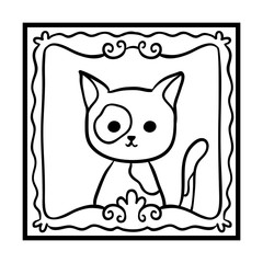 Coloring book, Framed cat photo