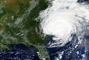 Hurricane Florence hits the East coast of the United States in September 2018 - Elements of this image furnished by NASA