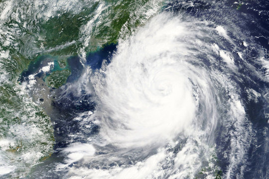 Typhoon Mangkhut hits the Philippines in September 2018 - Elements of this image furnished by NASA