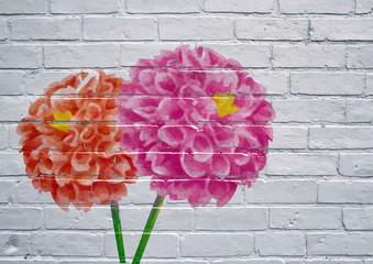 Street art, fleurs multicolores