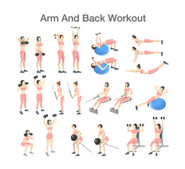 Arm and back workout set with different tools