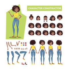African american woman character set for animation
