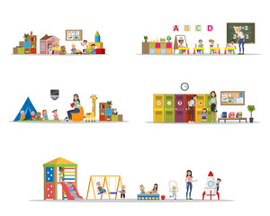 Kindergarten or nursery set with playing children
