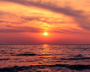 Beautiful Sunset At Sauble Beach In The Summer With Wispy Clouds In The Sky