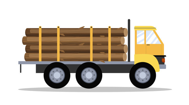 Big yellow truck with wood or lumber.