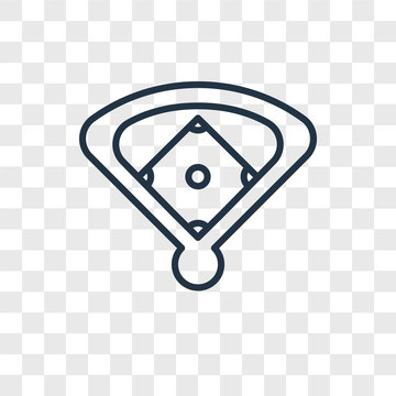 baseball field icons isolated on transparent background. Modern and editable baseball field icon. Simple icon vector illustration.