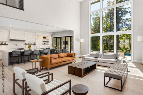 Beautiful Living Room Interior In New Luxury Home With Open
