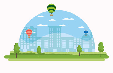 Cityscape and hot air balloons