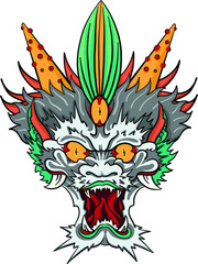traditional hand drawn asian dragon head in color. Evil eyes, china, japan, yakuza tattoo template. vectors