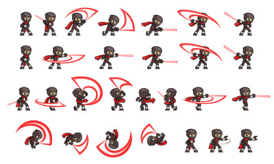 Black Ninja Attack Game Sprites