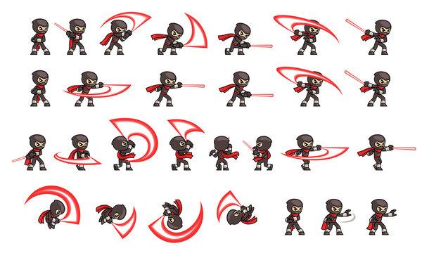 Black Ninja Attack Game Sprites