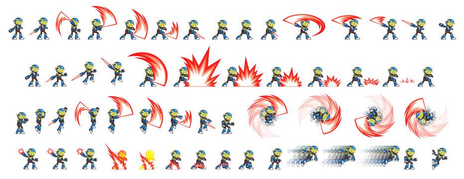 Blue Robot Attack Game Sprites