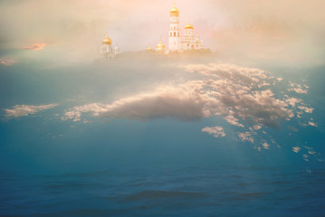 Heavenly temple in the clouds above the ocean. The concept of Christian and Catholic religion and faith. The majestic background for prayers, relaxation, meditation and calm spiritual experience Wall mural