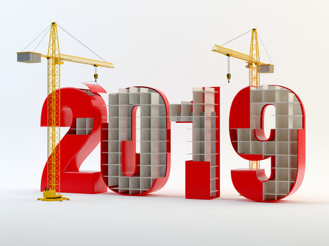 2019 and cranes - red