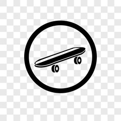 skateboard icons isolated on transparent background. Modern and editable skateboard icon. Simple icon vector illustration.