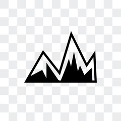 Image with mountains vector icon isolated on transparent background, Image with mountains logo design