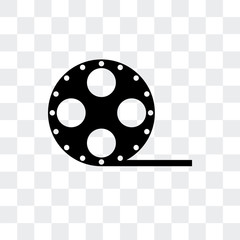 film roll side view icon isolated on transparent background. Modern and editable film roll side view icon. Simple icons vector illustration.