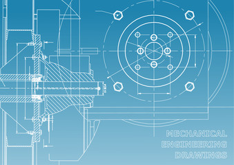 Technical illustration. Mechanical engineering. Backgrounds of engineering subjects. Technical design. Blue and white