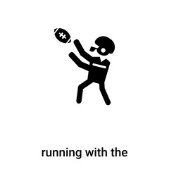 running with the ball icon vector isolated on white background, logo concept of running with the ball sign on transparent background, black filled symbol