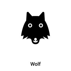 Wolf icon vector isolated on white background, logo concept of Wolf sign on transparent background, black filled symbol
