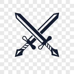 Swords vector icon isolated on transparent background, Swords logo design