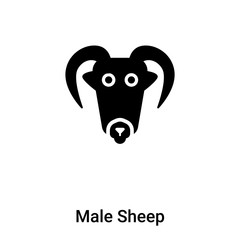 Male Sheep icon vector isolated on white background, logo concept of Male Sheep sign on transparent background, black filled symbol