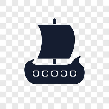 viking ship icons isolated on transparent background. Modern and editable viking ship icon. Simple icon vector illustration.